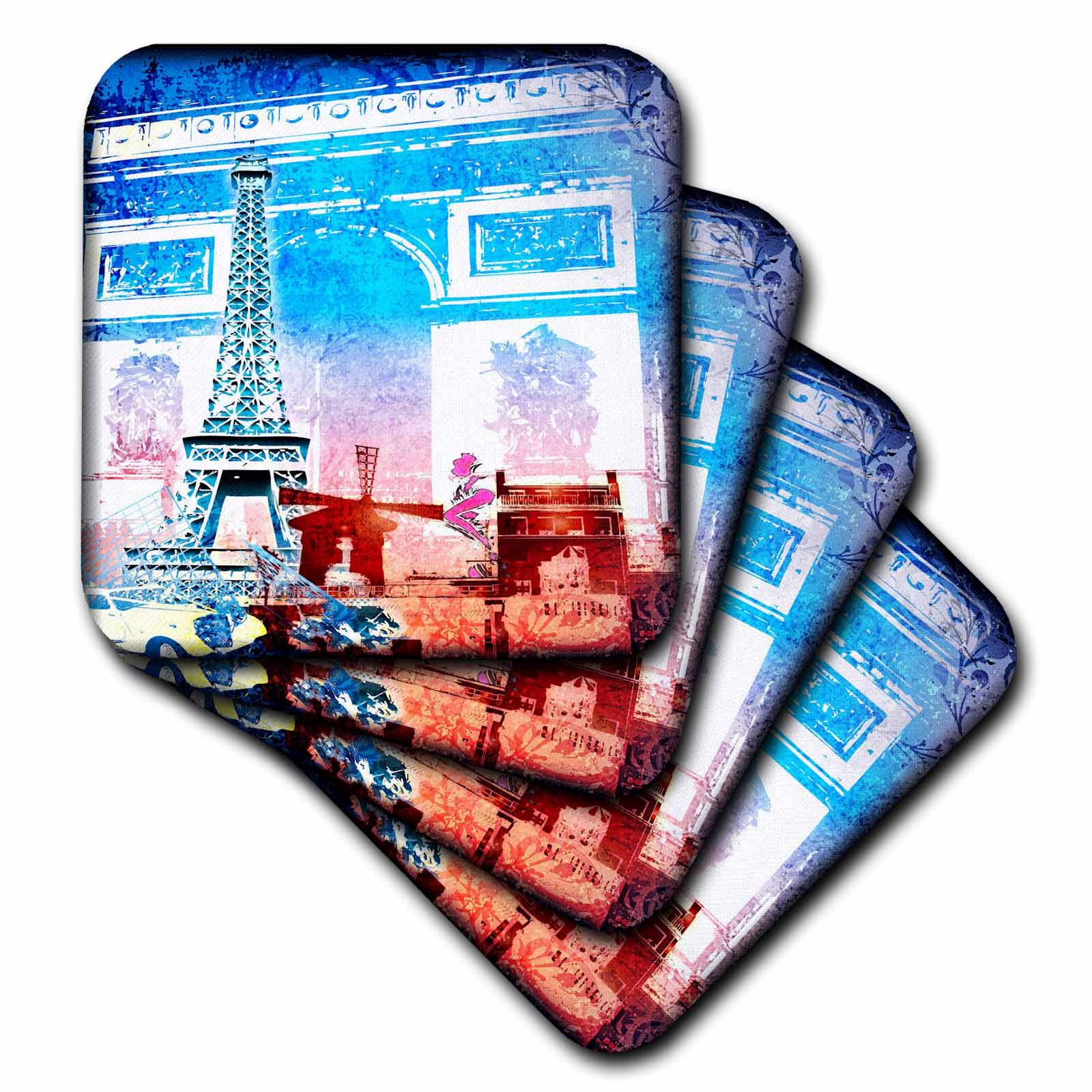 3dRose Paris Illustration, Soft Coasters, set of 4