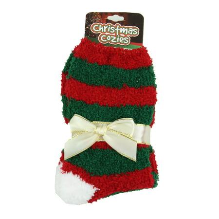 Christmas Fuzzy Socks.Christmas Cozies Festive Fuzzy Socks 04 Red Green Red Stripe One Size
