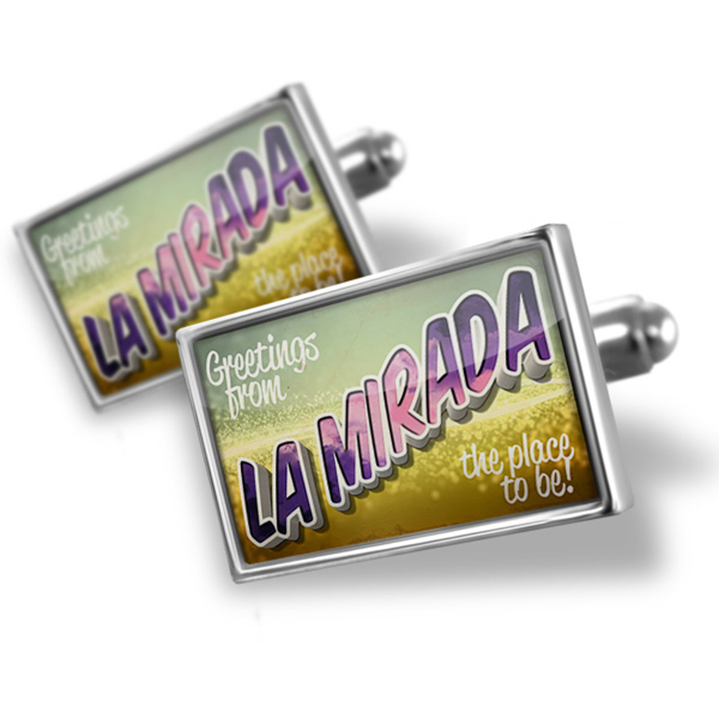 Cufflinks Greetings from La Mirada, Vintage Postcard - NEONBLOND