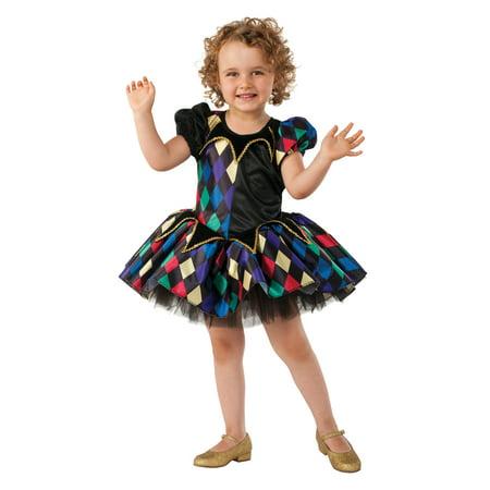 Toddler Clown Costume Girl (Little Jester Clown Toddler Girls Tutu Dress Halloween Renaissance)