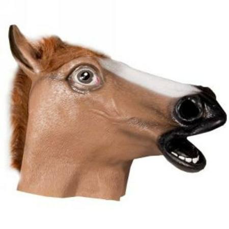 HMS Brown Horse with Fur Trim Animal Mask - Cheap Horse Masks