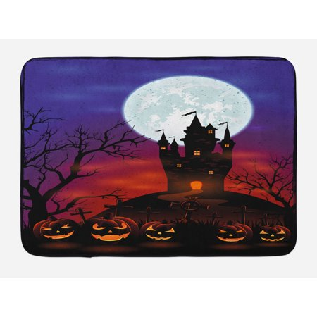 Halloween Bath Mat, Gothic Haunted House Castle Hill Valley Night Sky October Festival Theme Print, Non-Slip Plush Mat Bathroom Kitchen Laundry Room Decor, 29.5 X 17.5 Inches, Multicolor, Ambesonne