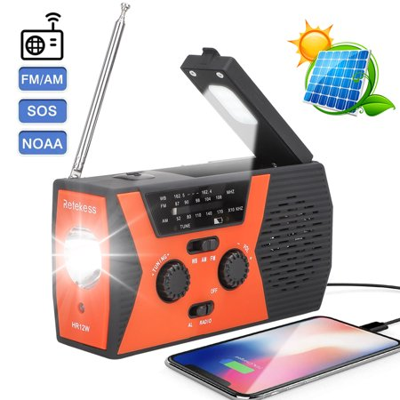 [2020 Upgraded] TSV Emergency Solar Hand Crank Radio, NOAA Weather Radio for Emergency with AM/FM, LED Flashlight, Reading Lamp, 2000mAh Power Bank &SOS Alarm -Long Antenn,Pick Up Reception Everywhere