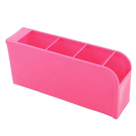 Office Desktop Home Table Sundries 4 Slots Storage Drawer Divider Box Fuchsia