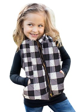 Children Plaid Pattern Vest Wear Sleeveless Casual Girl's Jacket