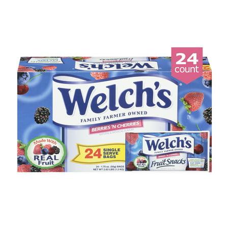 Welch's Fruit Snacks, Berries 'N Cherries, 1.75 Oz Bags, 24 Ct
