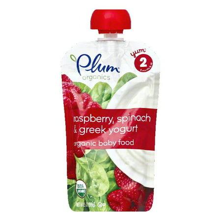 Plum Organics Yogurt Greek Raspberry Spinch, 4 OZ (Pack of 6)
