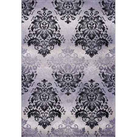 Ladole Rugs Everest Collection Milan Classic Damask Style Soft Beautiful Mat in Gray and Black, 2x3(1'7