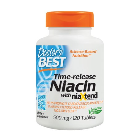Doctor's Best Time-release Niacin with niaxtend, Non-GMO, Vegan, Gluten Free, 500 mg, 120