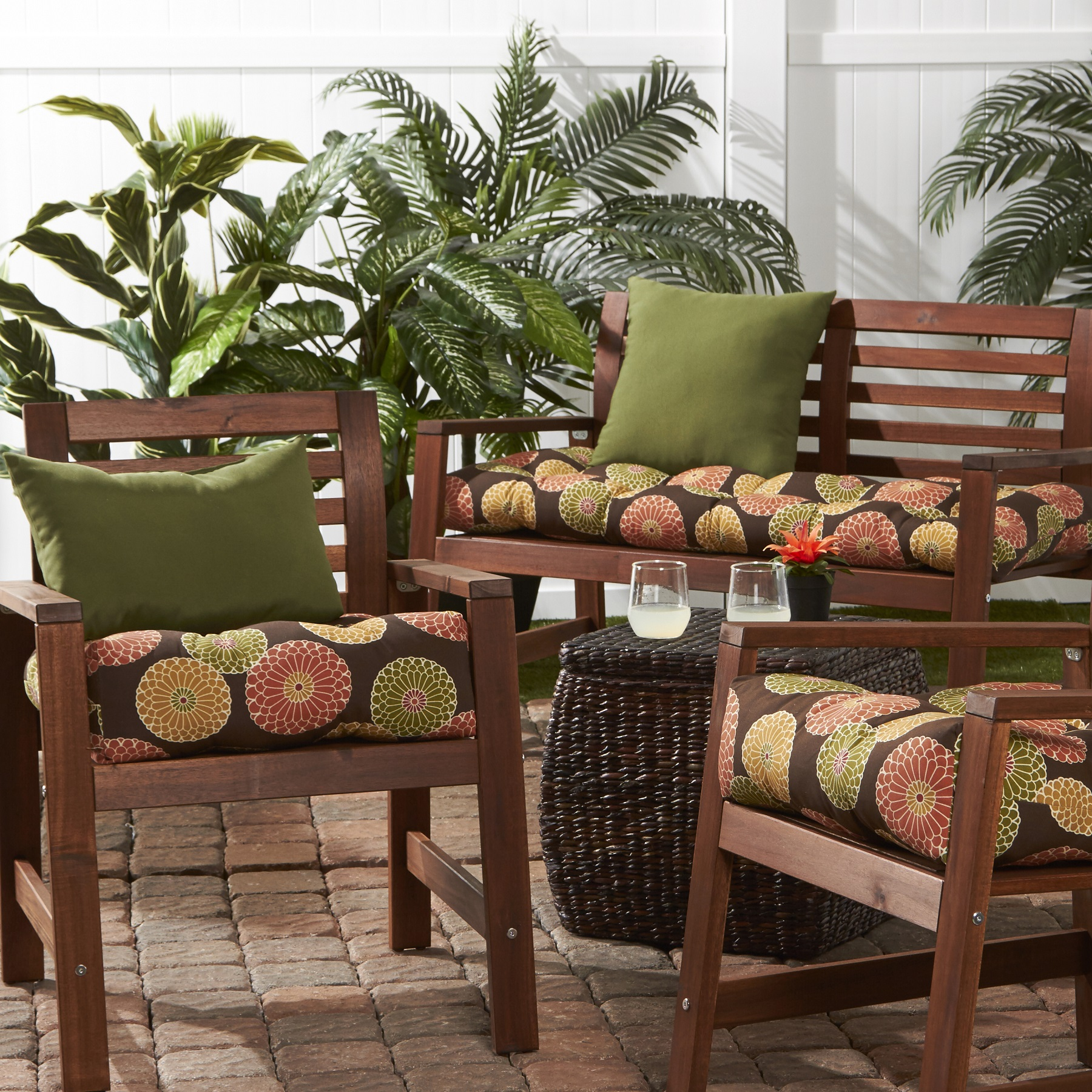 Greendale Home Fashions Flowers on Chocolate Outdoor Cushion Collection