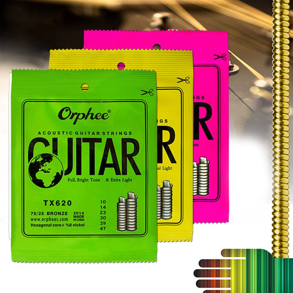 Acoustic Guitar String Set Durable Hexagonal Core Bronze Bright Tone String by