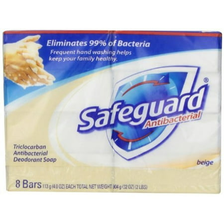 Safeguard Antibacterial Hand Bar Soap, 4 oz bars, 8 ea ( Pack of 2)