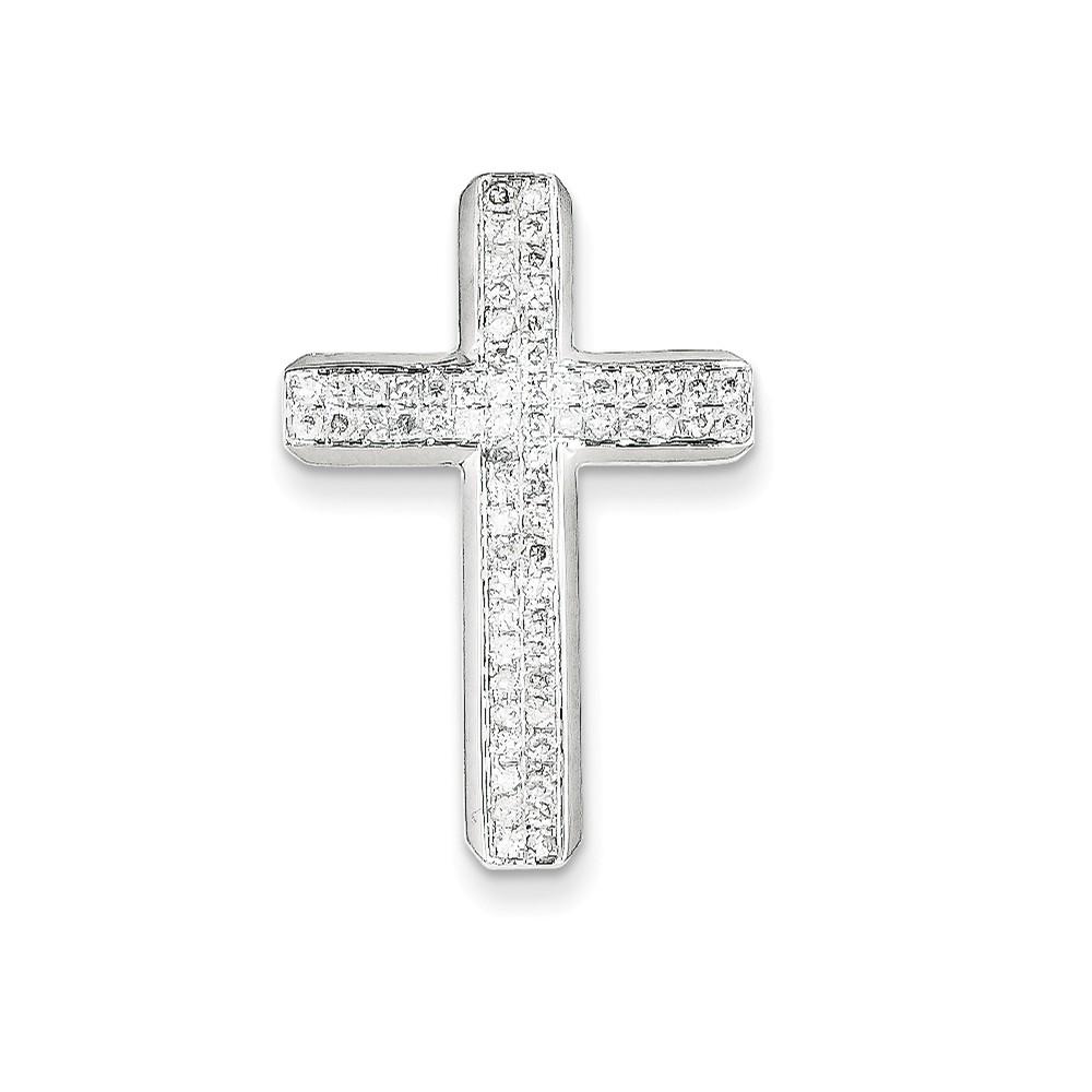 14k White Gold Diamond Latin Cross Pendant. Carat Wt- 0.53ct