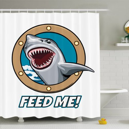 Ambesonne Sea Animal Funny Vintage Quote with Hungry Hound Shark Head in Ship Window Humor Print Shower Curtain Set