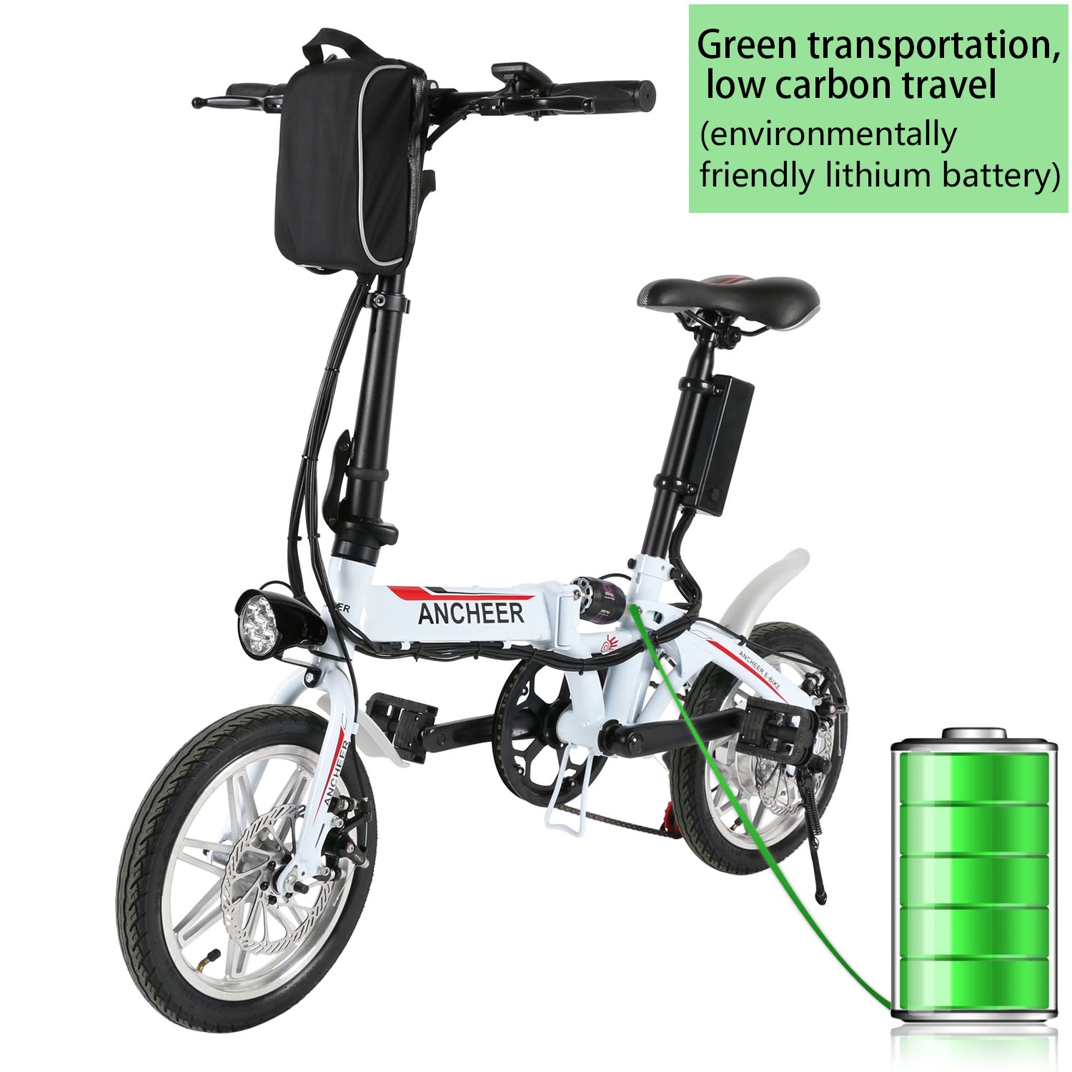"Ancheer 14"" Folding Electric Bike 36V Lithium-ion Battery..."