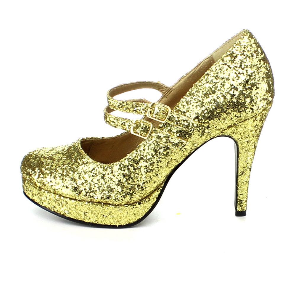cead59ca0ce Ellie Shoes E-421-Jane-G 4 Double Strap Glitter Mary Jane 5   Gold Glitter  - Walmart.com