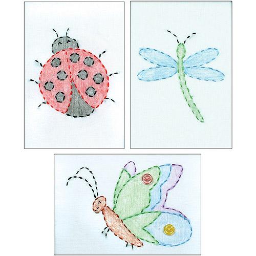"Stamped Embroidery Kit, Beginner Samplers 6"" x 8"", 3 per package"