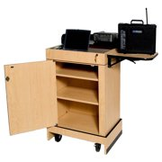 Mobile Multimedia Computer Lectern w Storage - No Sound System (Maple)