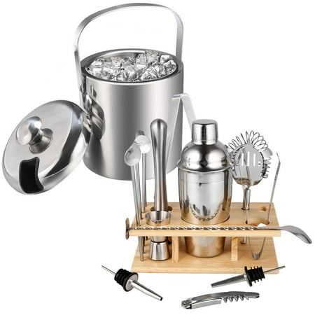 Stainless Steel Ice Bucket with 14 Piece Cocktail Shaker Set Now $49.99 (Was $150.99)