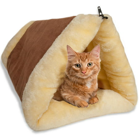 Paw Cat Bed (OxGord Paws & Pals 2-in-1 Indoor Fleece Pyramid Dog & Cat Pet Bed, Small )