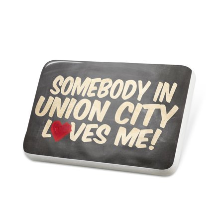 Porcelein Pin Somebody in Union City Loves me, New Jersey Lapel Badge – NEONBLOND - Party City Union New Jersey