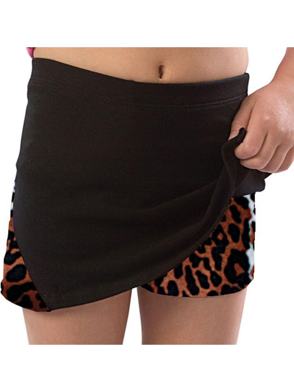 Pizzazz Girls Size 2T-16 Leopard Skirt With Boy Cut Shorts Dance Cheer