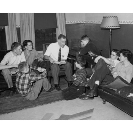 Members of the YMCA discussing the bible Ridgewood New Jersey USA Canvas Art - (18 x 24)
