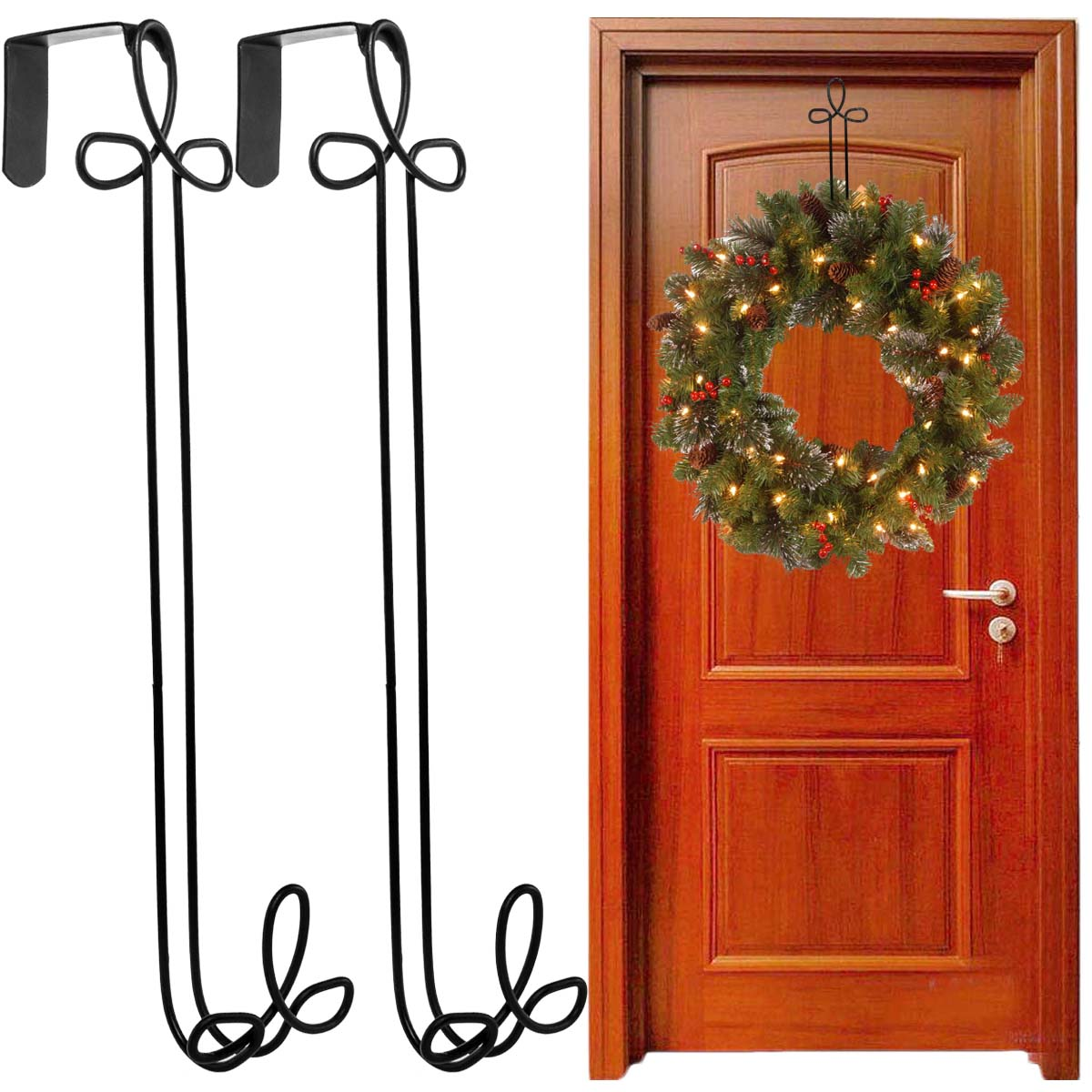 Panacea (2 Pack) Over The Door Holiday Wreath Hangers Black Metal Décor For Outdoor Decorations