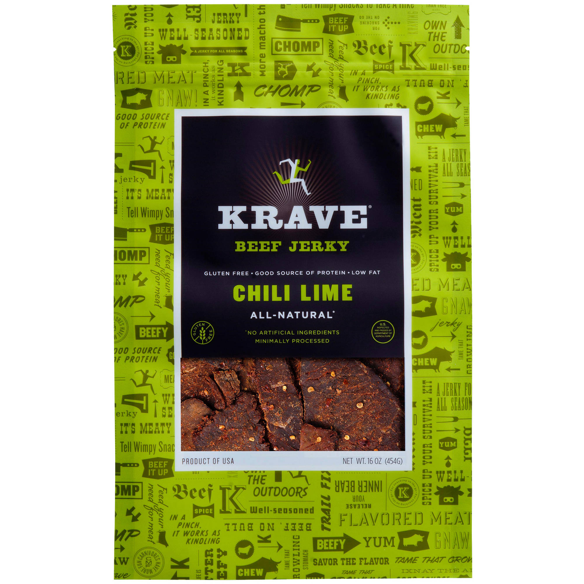 Krave Beef Jerky Chili Lime, 16 oz - Online Only