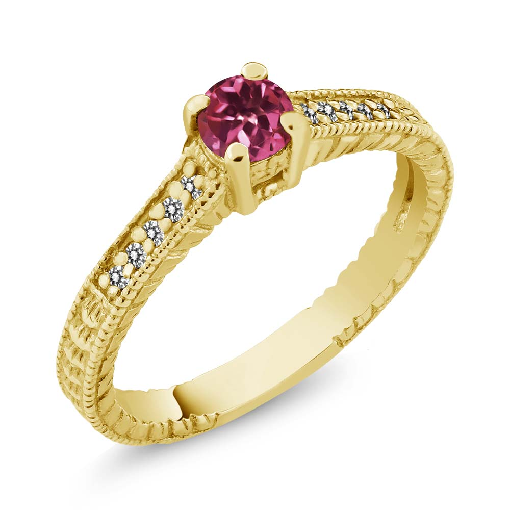 0.31 Ct Round Pink Tourmaline White Diamond 18K Yellow Gold Engagement Ring by