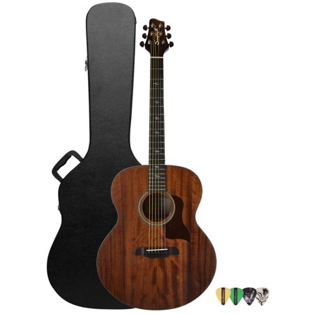 Sawtooth Solid Top Mahogany Acoustic-Electric Jumbo Guitar with Hard Case and Pick