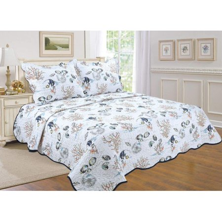 All For You 3pc Reversible Bedspread Coverlet Quilt Set Coastal Prints Tropical Fish Sea World King Size 90 X100 With 2 Standard Pillow