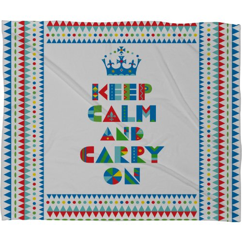DENY Designs Andi Bird Keep Calm And Carry On Fleece Throw Blanket, 80 by 60-Inch