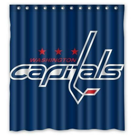 DEYOU Washington Capitals Shower Curtain Polyester Fabric Bathroom Size 60x72 Inches