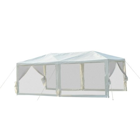 Outsunny 10' x 20' Gazebo Canopy Tent with 4 Removable Mesh Side Walls - White