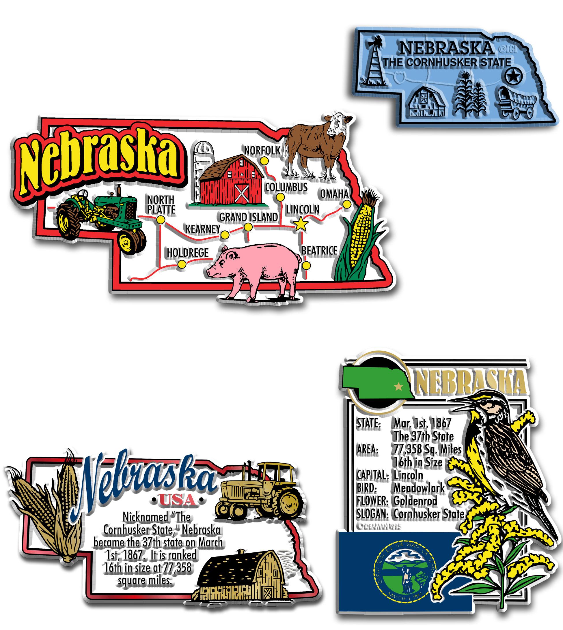 Four-Piece State Magnet Set - Nebraska