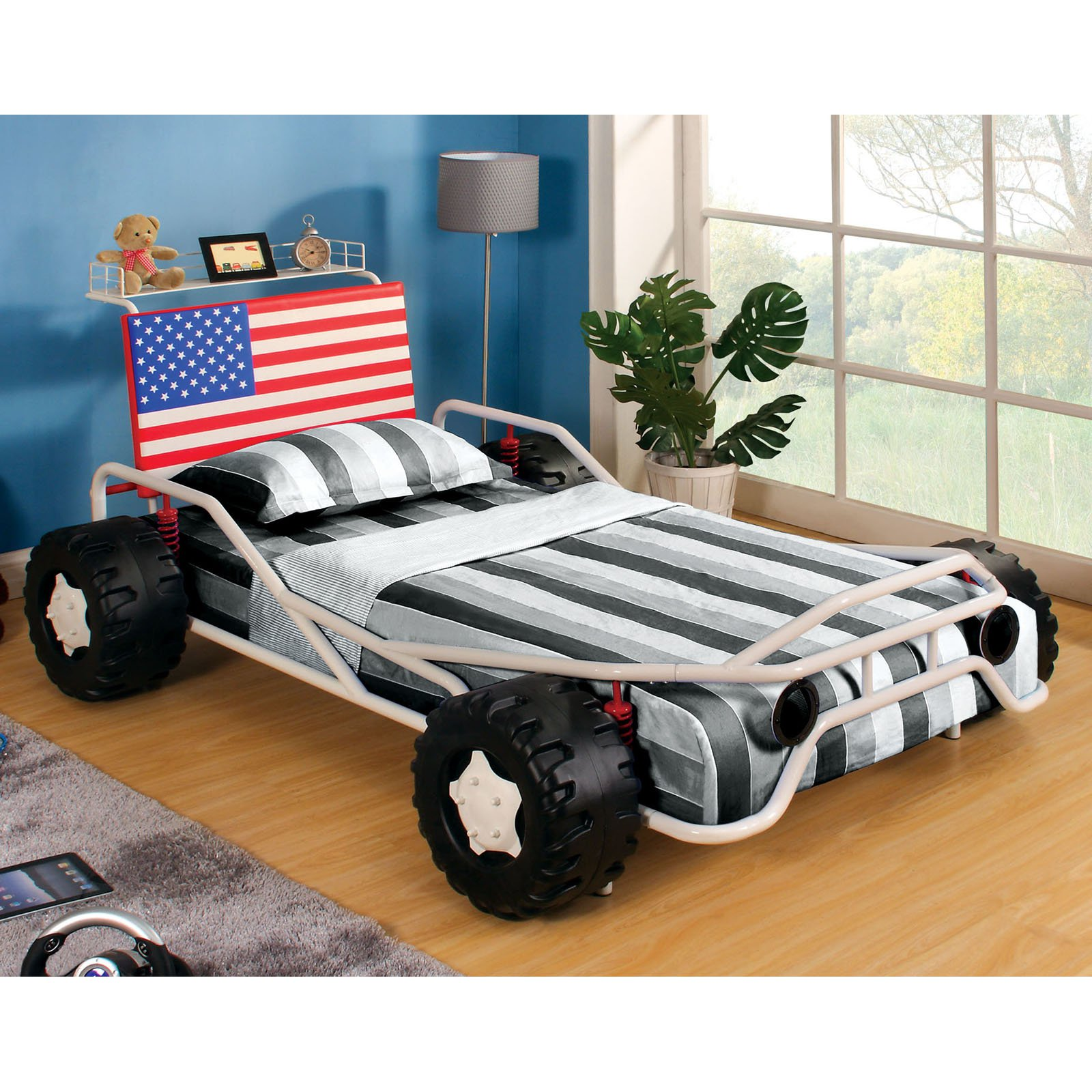 Ricky Racer Twin Metal Race Car Bed White Walmartcom