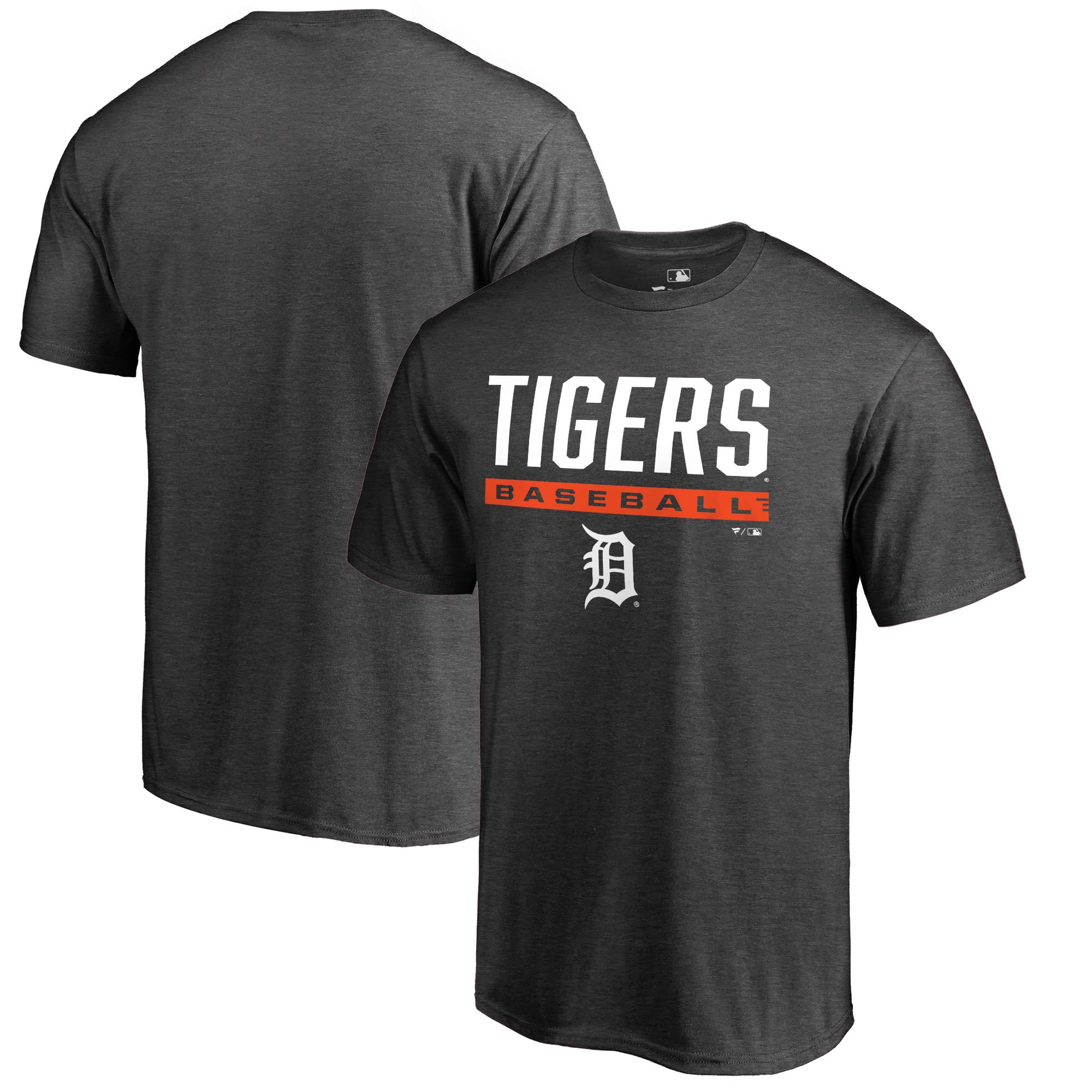 Detroit Tigers Fanatics Branded Win Stripe T-Shirt - Heathered Charcoal