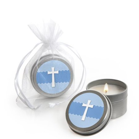 Delicate Blue Cross -  Baptism Candle Tin Party Favors (set of 12)