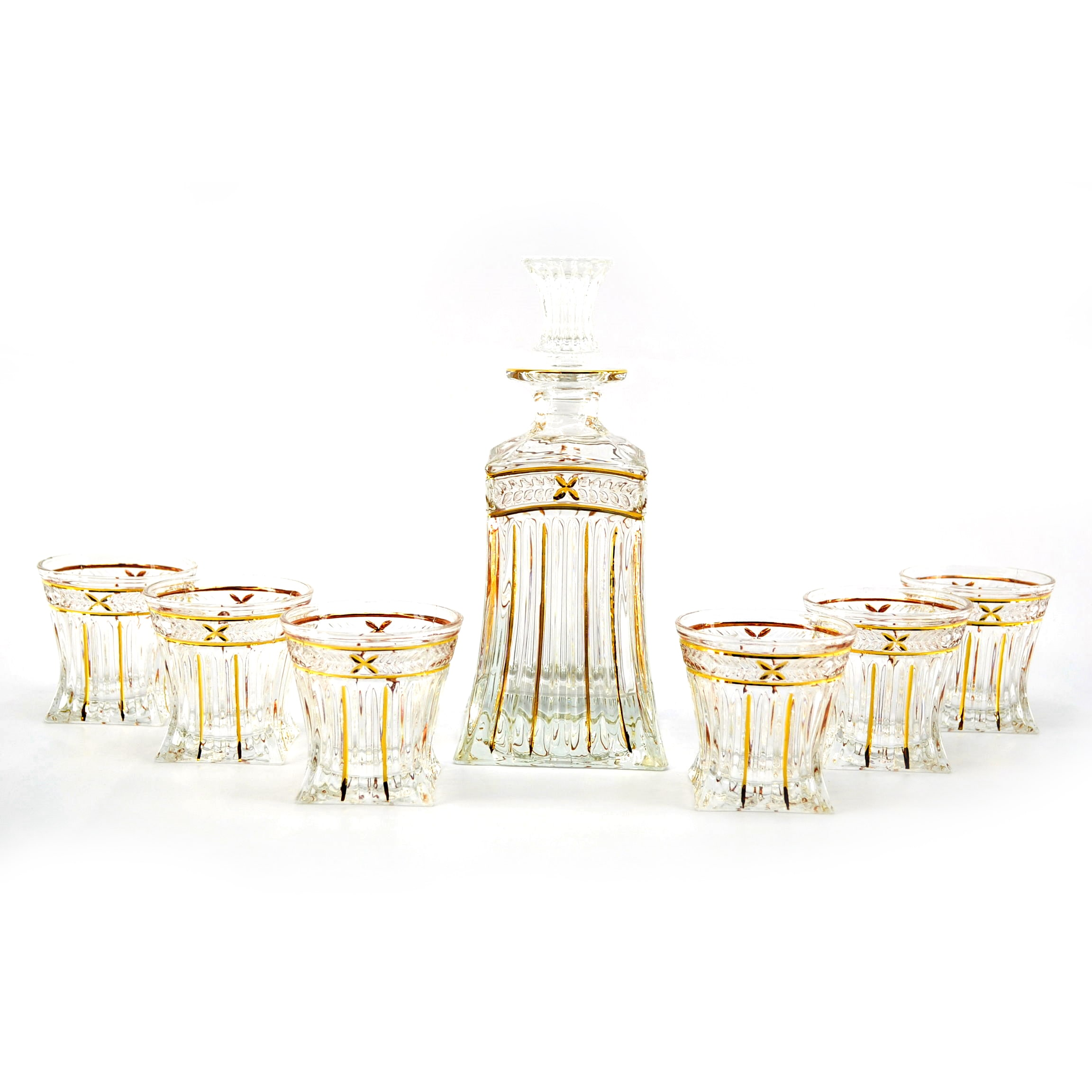 3starimex Seven-Piece Clear Glass Bottle and Shot Glass Liquor Set by Overstock
