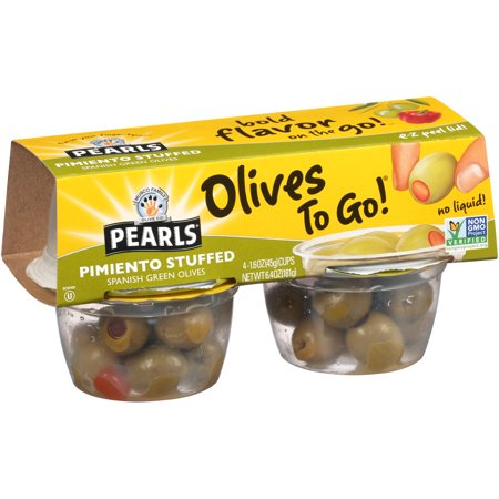 (2 Pack) Pearls Pimiento Stuffed Spanish Green Olives, 4 Pack, 1.6 oz. Cup