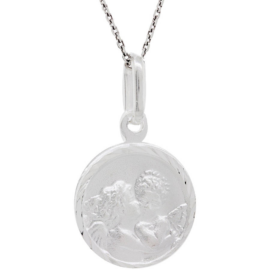 Pori Jewelers Sterling Silver Angel Medallion Pendant Necklace, 16