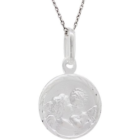 Sterling Silver Angel Medallion Pendant Necklace, (Medallion Style Pendant)