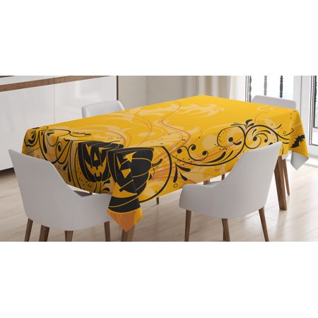 Halloween Decorations Tablecloth, Carved Pumpkins with Floral Patterns Bats and Webs Horror Artwork, Rectangular Table Cover for Dining Room Kitchen, 60 X 84 Inches, Orange Black, by - Simple Halloween Pumpkin Carving Patterns