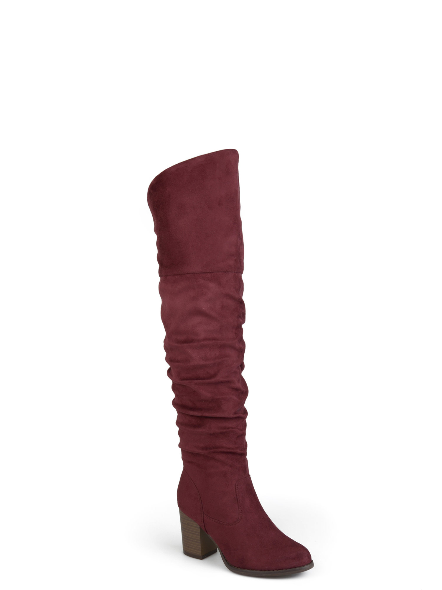 Women's Wide Calf Ruched Stacked Heel Faux Suede Over-the-knee Boots