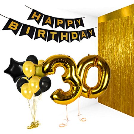 30th Birthday Decorations Happy Bday Banner Party Kit Pack B Day Celebration Supplies With Gold