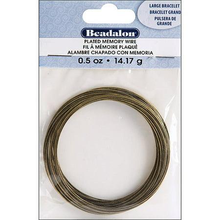 (Memory Wire Bracelet, Large, .5 oz, Antique Brass)