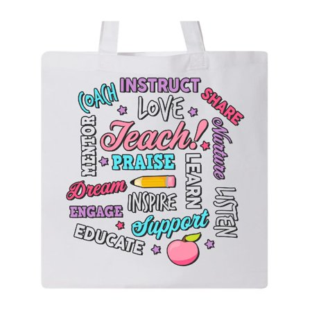 Teacher Word Salad with Pencil and Apple with Black Outline Tote Bag White One Size