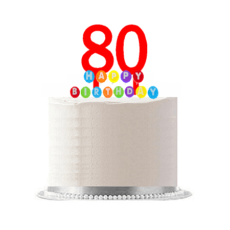 Item#080WCD - Happy 80th Birthday Party Red Cake Topper & Rainbow Candle Stand Elegant Cake Decoration Topper Kit](Birthday Cake Kits)
