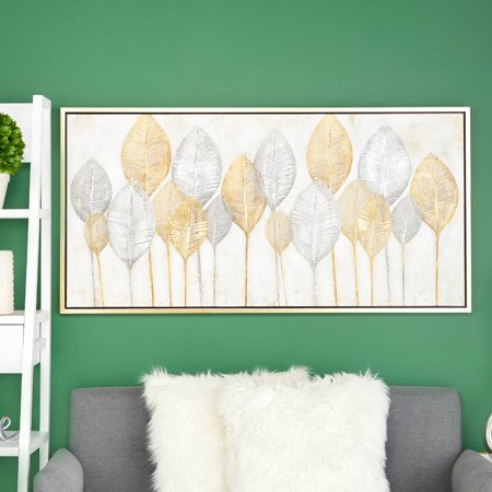 "CosmoLiving Large, Rectangular Gold & Silver Leaves Acrylic Painting Wall Art | 55"" x 27"" (Rectangular Painting)"